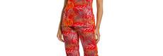 Pastunette katoenen capri pyjama voor dames met korte mouwen 'pretty passion red'