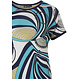 Pastunette Deluxe '70's groovy fashion' pure white & aquamarine short sleeve homewear set with a modern all over graphic '70's groovy fashion' style pattern top and long marine blue pants