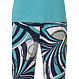 Pastunette Deluxe '70's style fashion' aquamarine & pure white capped sleeve homewear set with 70's style fashioniable 'v' neck 2 frront pockets and 70's groovy  fashion' long patterned pants