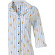 Rebelle 'sweet little ice creams' white & pale blue long sleeve full button cotton nightdress with collar, optional turn-up sleeves , chest pocket and all over pattern of verticle stripes and 'sweet little ice creams'
