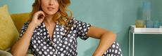 Pastunette Deluxe  'deeply dotty' short sleeve satin soft full button pyjama