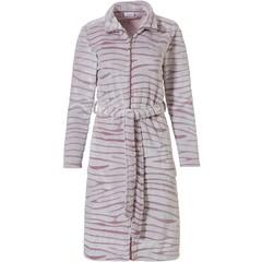 Pastunette roze, zachte fleece, ochtendjas met rits 'feminine animal magic'