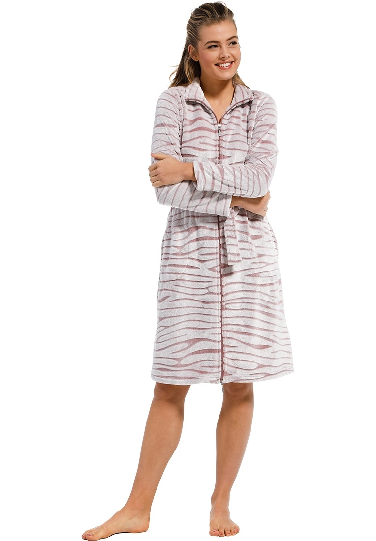 Pastunette 'feminine animal magic' snow-white & soft pink cosy fleece morninggown with full zip, belt, collar and two front pockets