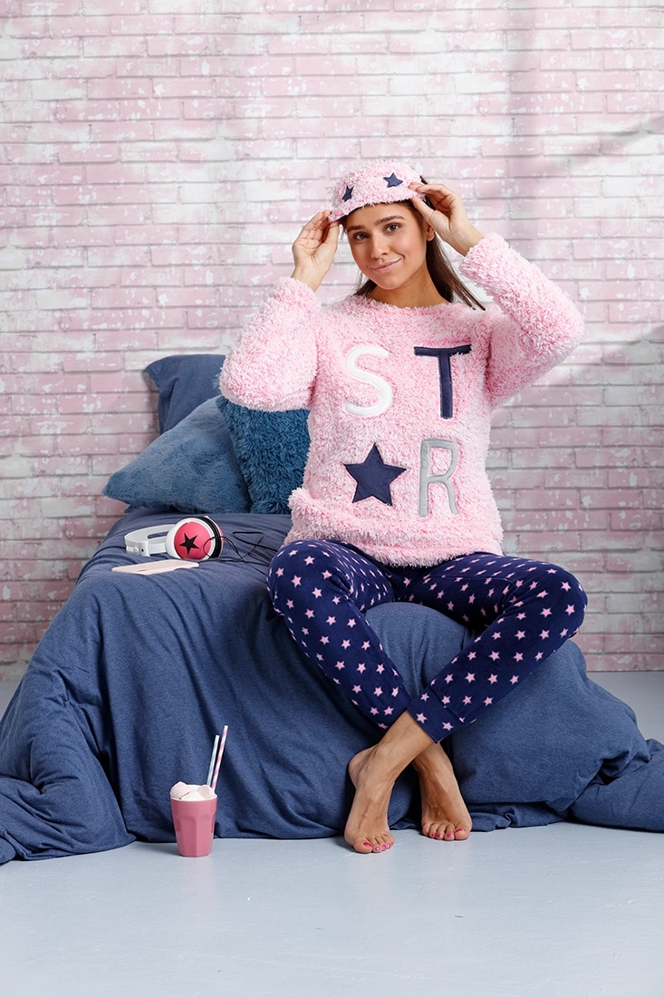Rebelle '★ be a star ★' blush pink, dark blue & vivid pink soft & warm fleece home-loungesuit with eye mask and long cuffed dark blue '★ be a star ★' starry pants