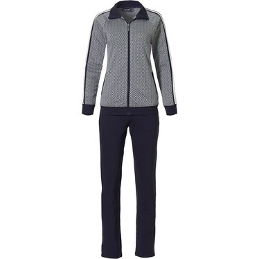Pastunette Deluxe 'sporty fashion fusion' dark blue & white ladies trendy luxury homewear lounge suit with zip, collar, sporty white side stripe and long dark blue pants with sporty white stripe