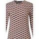 Pastunette Deluxe oranje oker, blauw-wit nachthemd met lange mouwen met classy all-over 'geometric macro art' patroon en lange blauwe broek