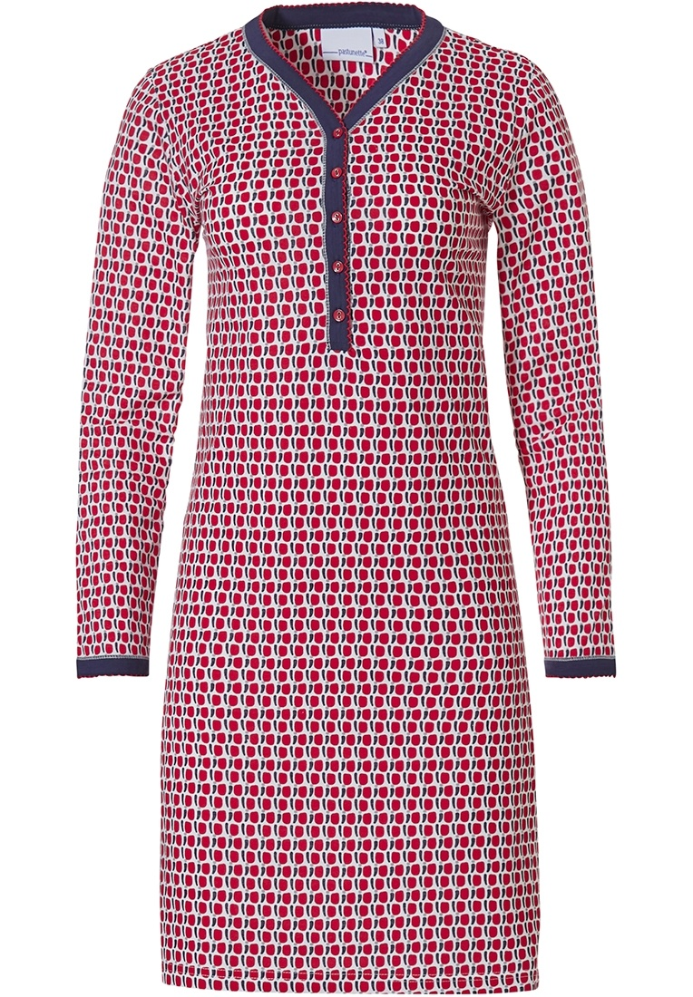 Pastunette 'cube it fashion' red & dark blue long sleeve ladies cotton nightdress with buttons