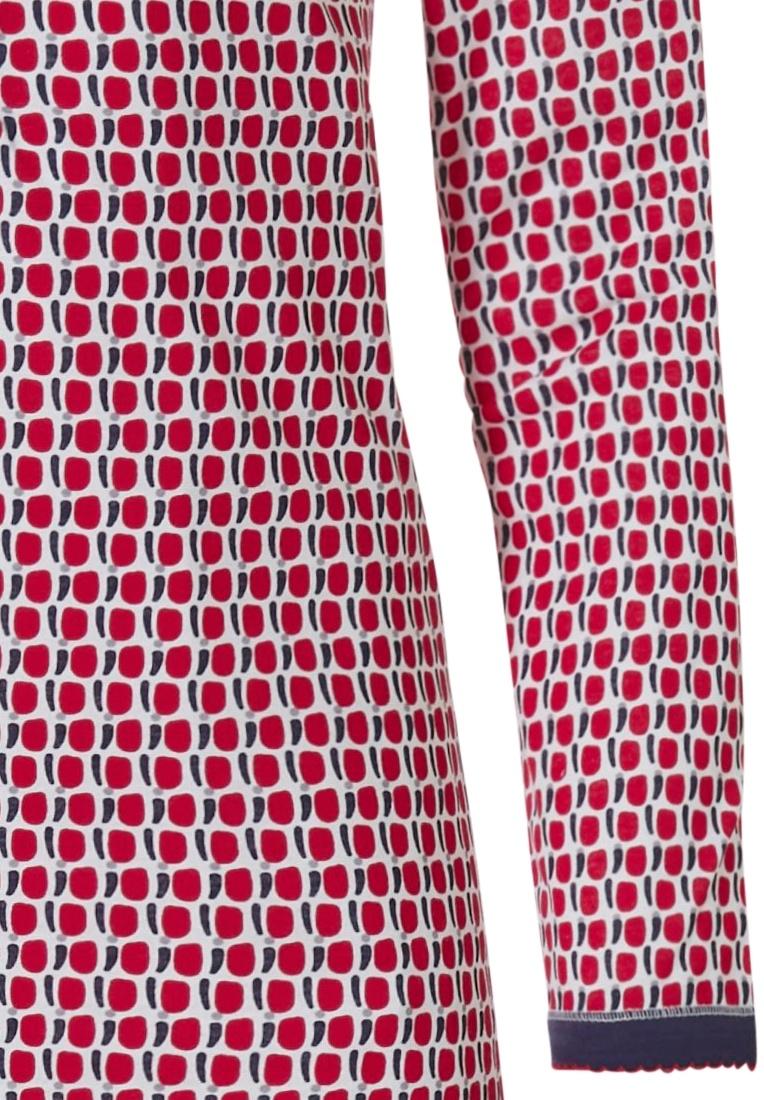 Pastunette 'cube it fashion' rood & donkerblauw katoenen dames nachthemd met knoopjes en lange mouwen