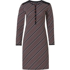 Pastunette Deluxe ladies cotton-modal nightdress with buttons 'trendy diagonal circles'
