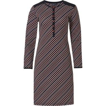 Pastunette Deluxe damesnachthemd van katoen-modal met knoopjes 'trendy diagonale cirkels'