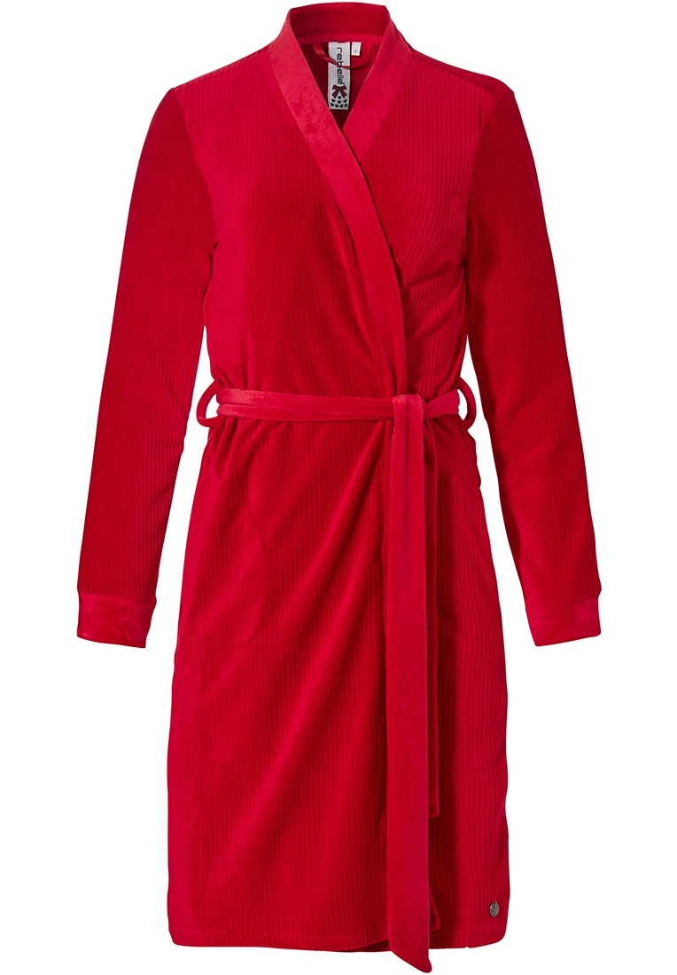 Rebelle 'ruby red lines' rich red soft velours fleece wrap-over dressinggown with belt and pockets