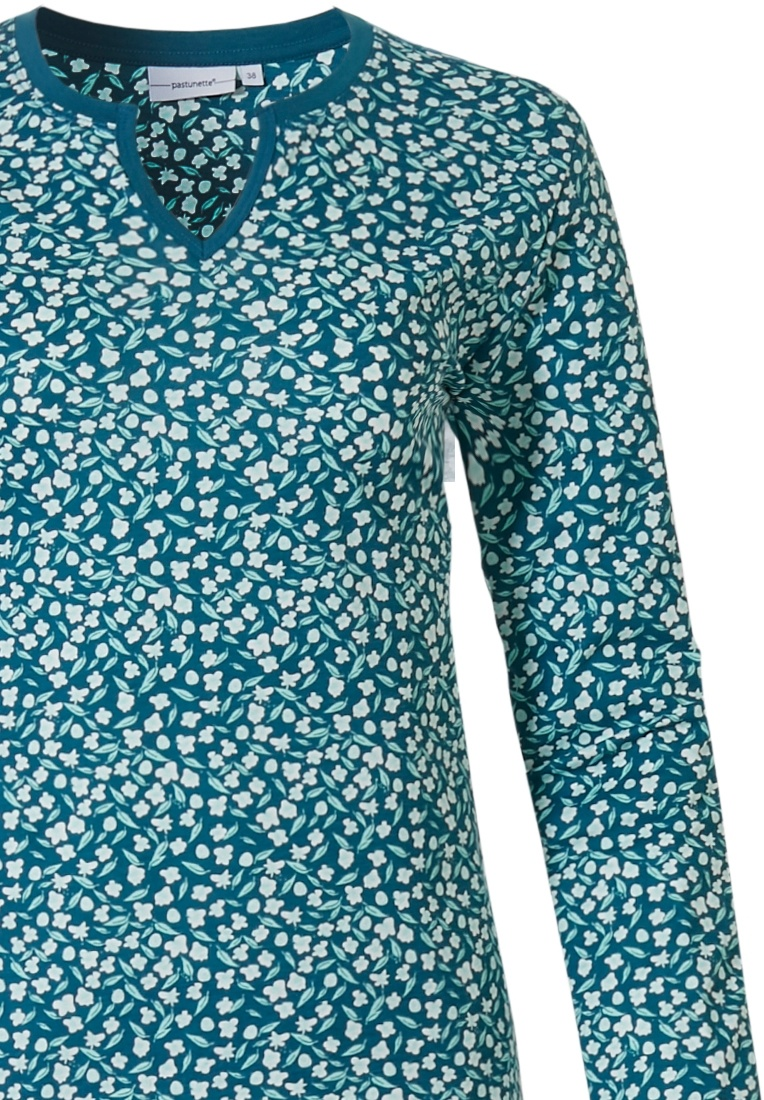 Pastunette 'pretty little flowers' jade green & white long sleeve organic cotton pyjamaset with round neck with wide 'v' and long green pants