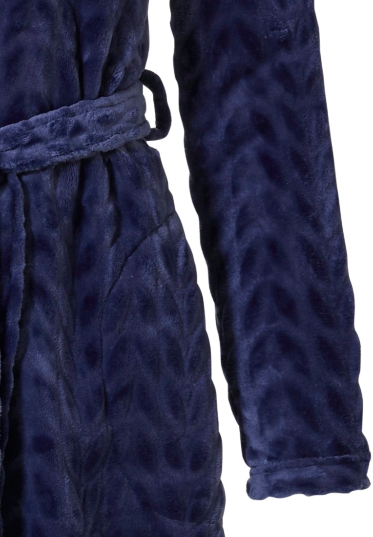 Pastunette 'dewdrop petals' midnight blue soft fleece morninggown with zip, collar, belt and two pockets