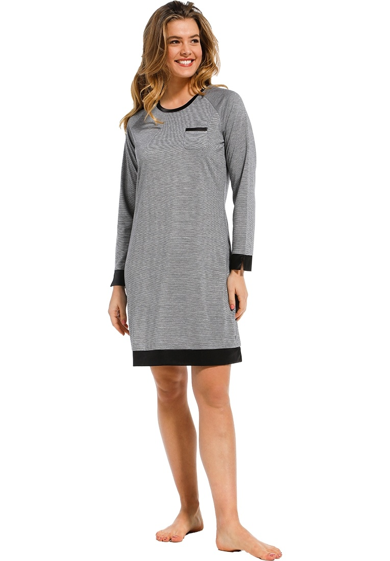 Pastunette Deluxe 'chic elegant luxury' grey & dark grey long sleeve nightdress with pocket on chest' chic 'soft as satin' trim detailing