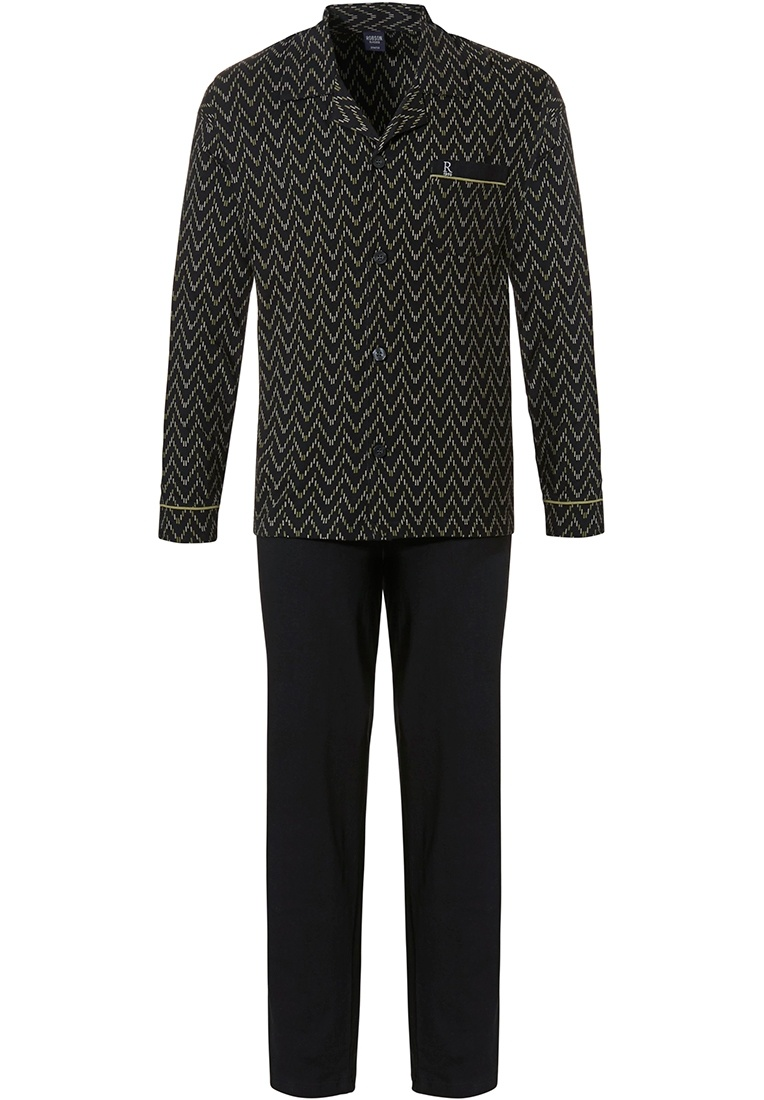 Robson 'jagged lines' black & green full button long sleeve cotton pyjama with revere collar, chest pocket and long black pants