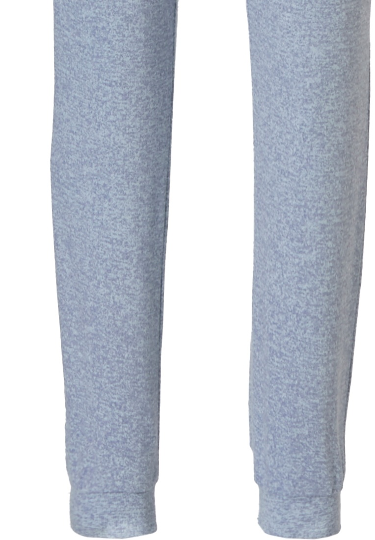 Pastunette 'chic checkered blocks' light blue & pale pink long sleeve lounge style pyjama set with cuffs , an all over chic style checkered blocks pattern and long grey cuffed pants