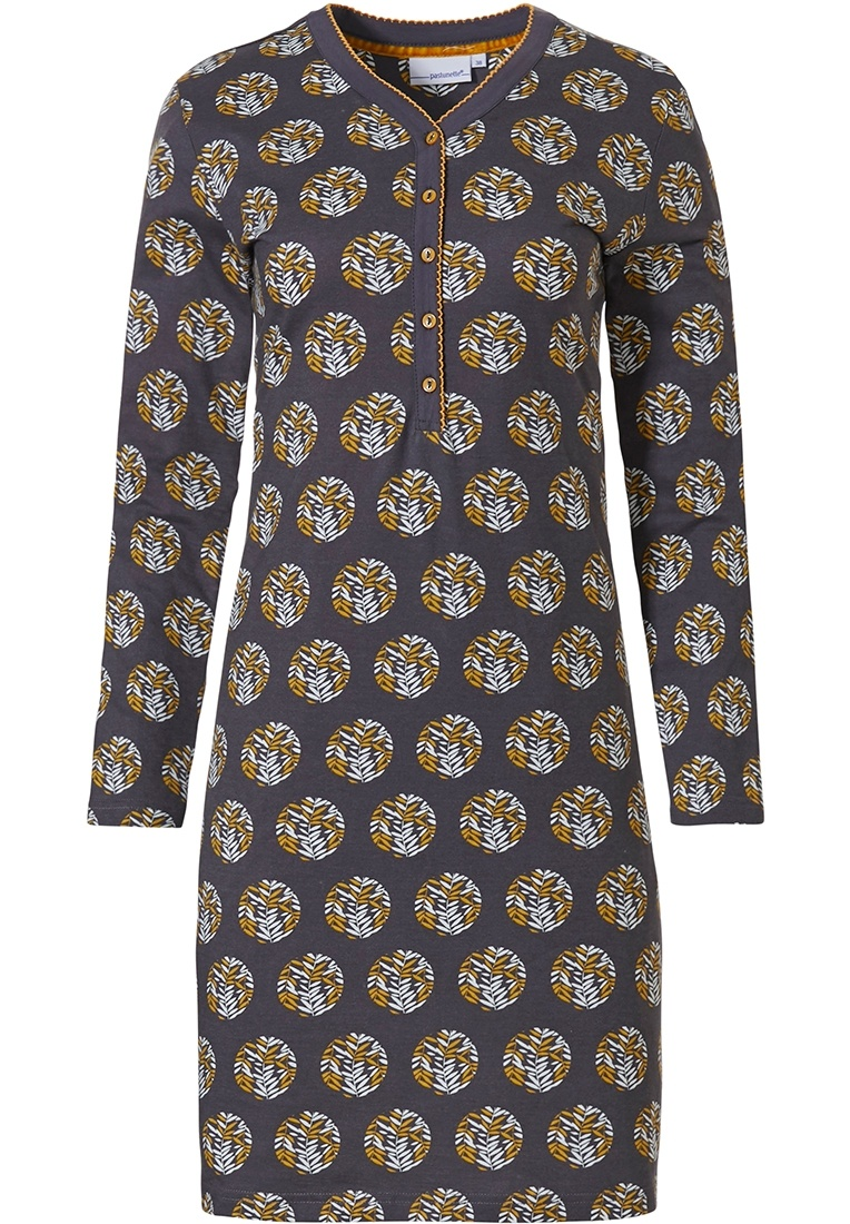 Pastunette 'circle of leaves' dark grey & mustard yellow long sleeve cotton nightdress with buttons, chest pocket and an all over 'circle of leaves' pattern