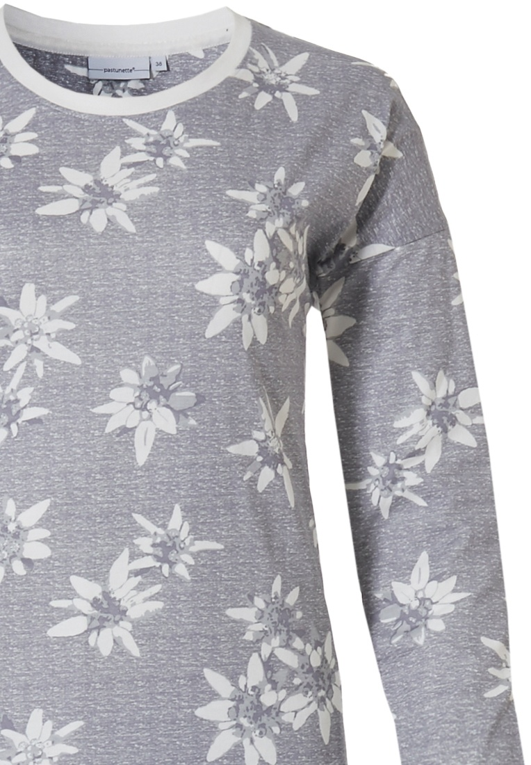 Pastunette 'elegant & unique edelweiss flowers' pure white & grey long sleeve 100% cotton pyjama with an all over pretty 'elegant & unique edelweiss flowers' pattern, pure white trimmings and long matching cuffed pants