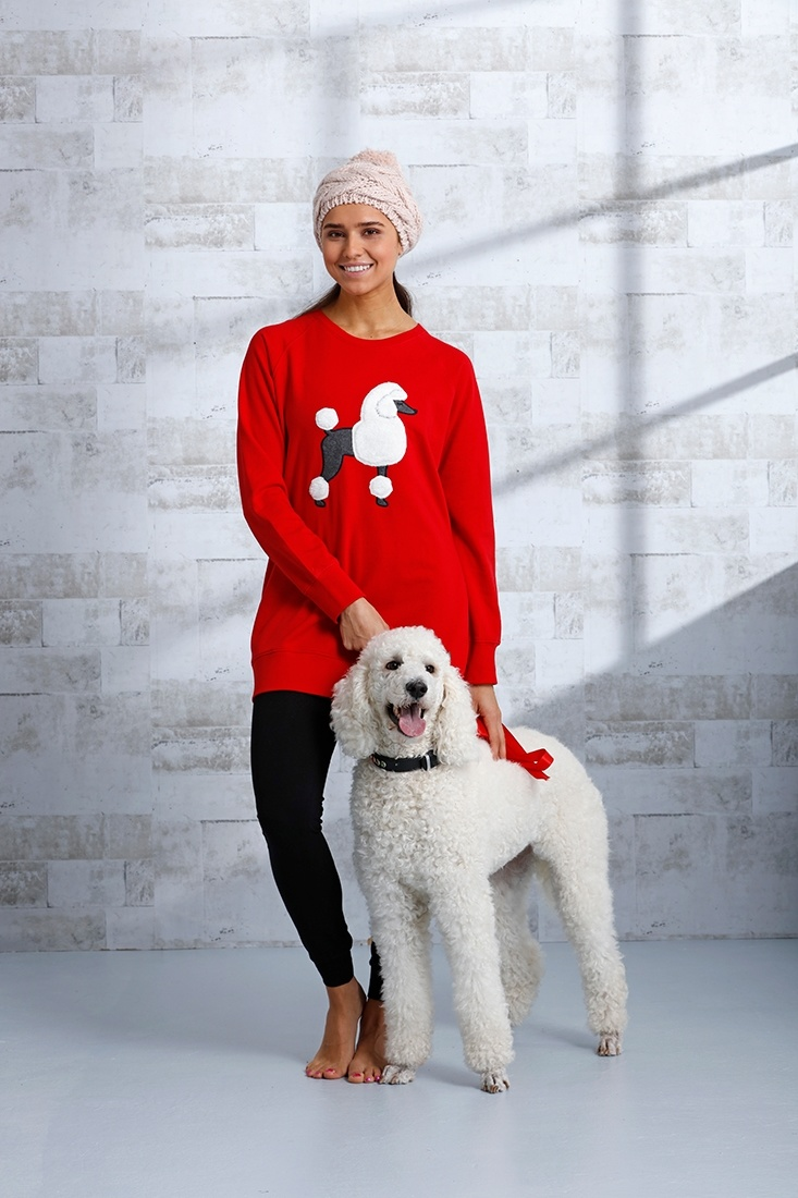 Rebelle 'posh poodle' red, white & dark grey  lounge style Mix & Match terry jumper with 'fluffy posh poodle' picture on the front