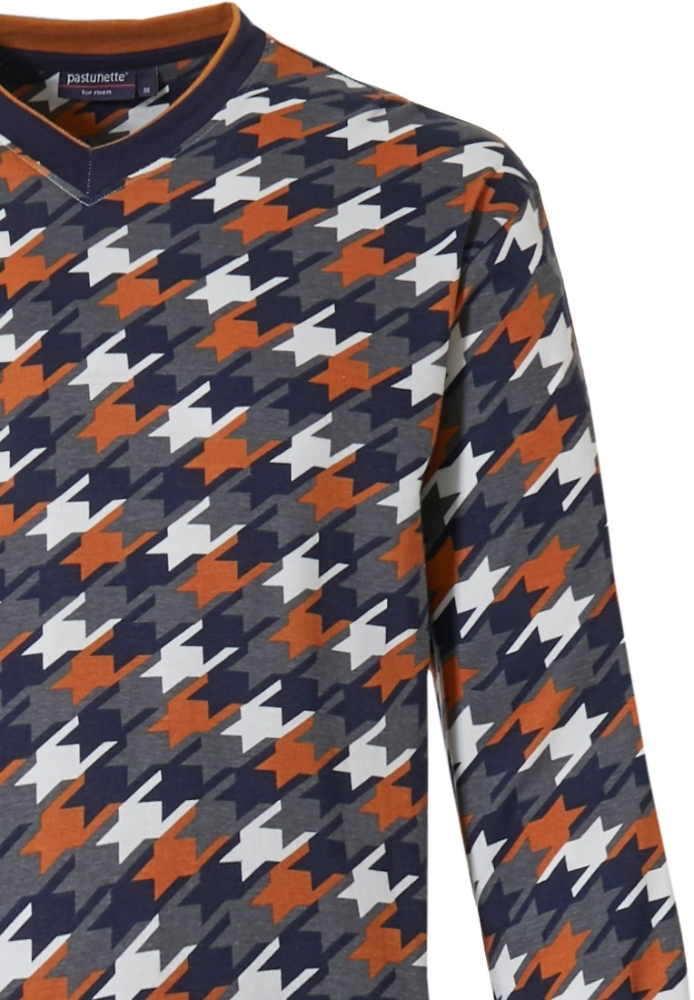 Pastunette for Men 'space invaders' white, orange, brown & grey mens 100% cotton 'v' neck pyjama set with a fun 'space invaders' pattern and long dark brown cuffed pants