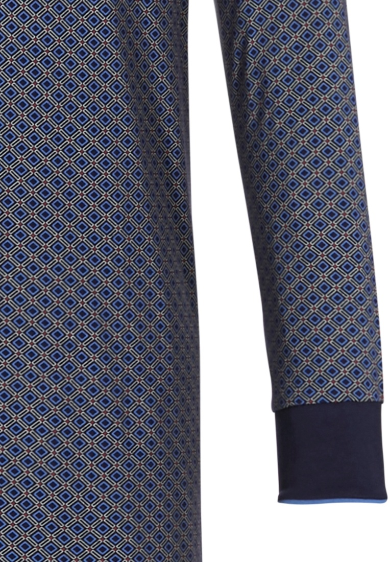 Pastunette for Men 'dynamic squares' mid blue & dark blue mens trendy patterned long sleeve 100% cotton 'v' neck nightdress withchest pocket and a modern all over 'dynamic squares' pattern