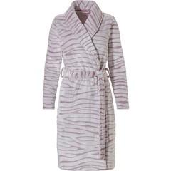 Pastunette roze, zachte fleece, overslag ochtendjas 'feminine animal magic'