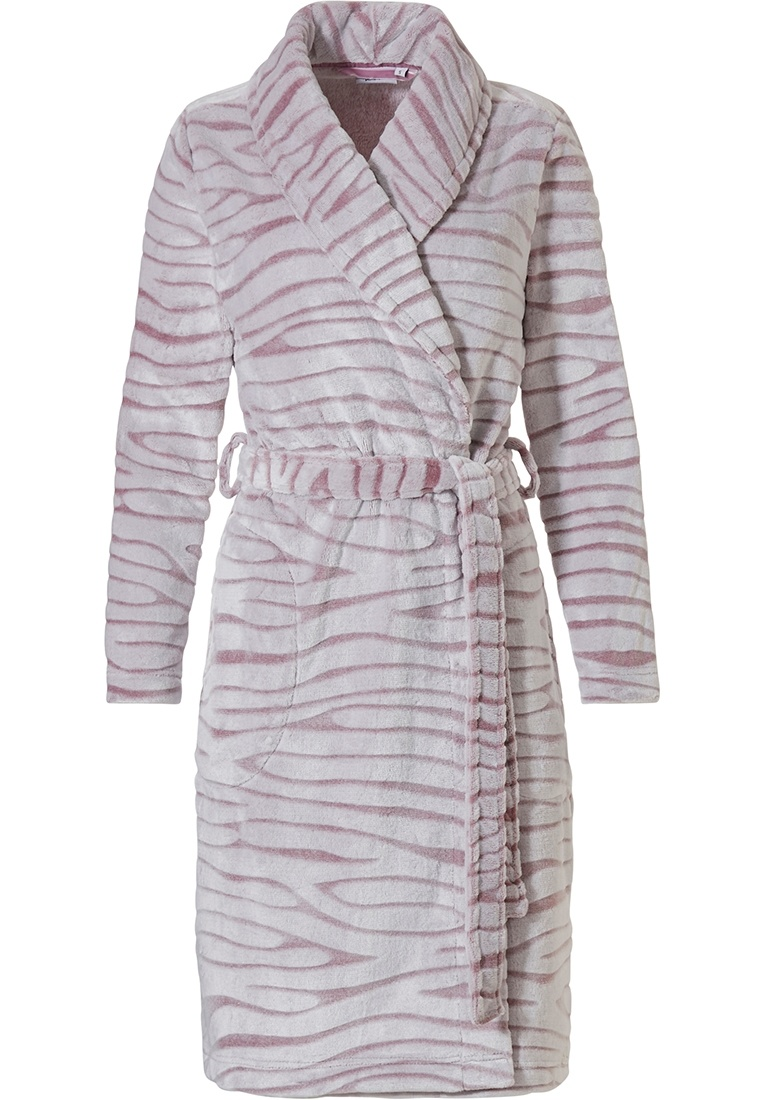 Pastunette 'feminine animal magic' snow-white & soft pink fleece, wrap-over warm & cosy morninggown with shawlcollar, belt and two front pockets