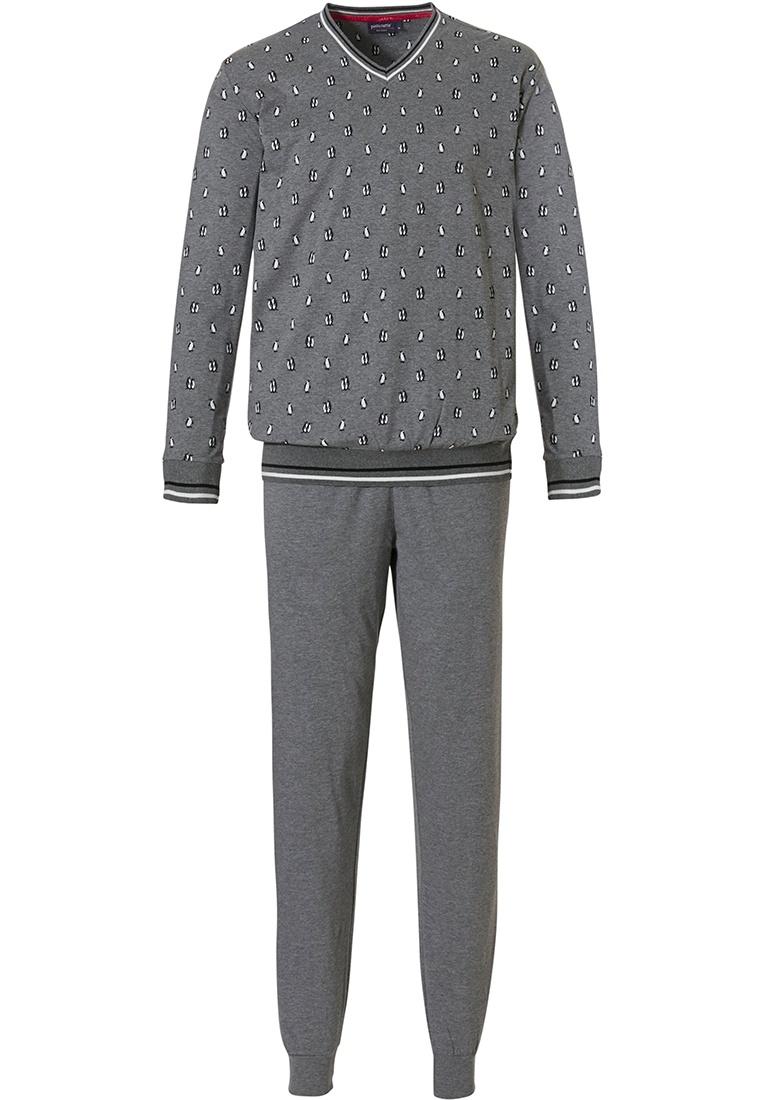 Pastunette for Men 'happy little penguins' grey & white long sleeve 'v' neck mens pyjama set with long grey cuffed pants