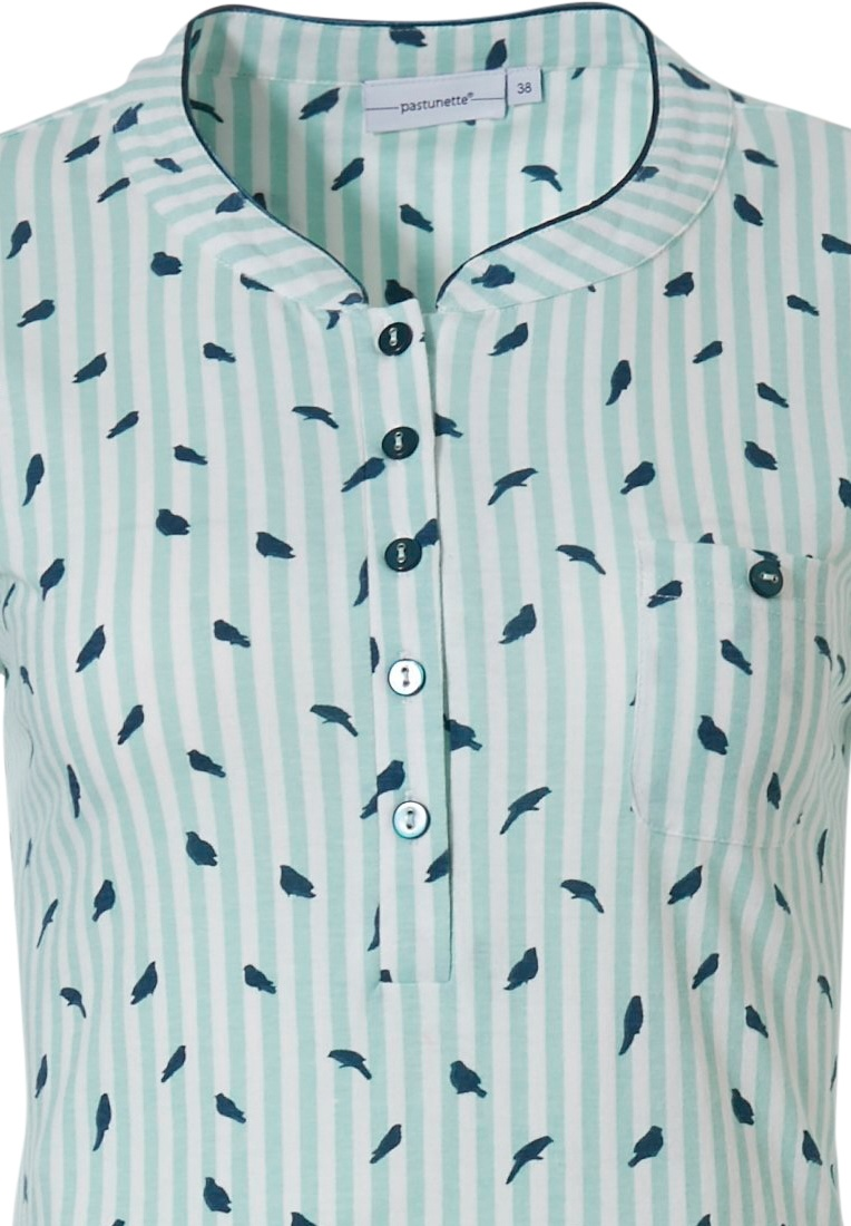 Pastunette 'stripes & little birds' pale turquoise, white & teal ladies long sleeve organic cotton nightdress with buttons and pretty all over 'stripes & little birds' pattern