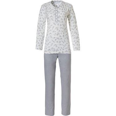 Pastunette 'pretty bamboo leaves' off-white & lichtgrijze katoen-modal pyjama met lange mouwen en knoopjes en lange lichtgrijze broek