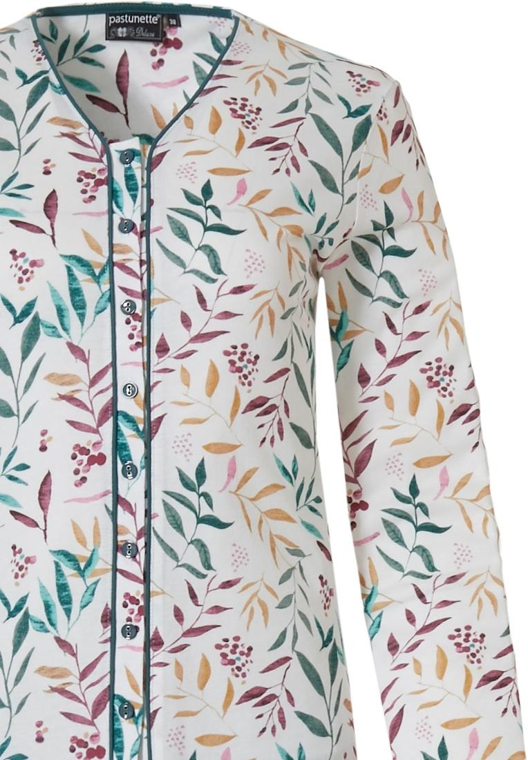 Pastunette Deluxe rood, groen & gele katoen-modal doorknoop dames pyjama met lange mouwen en v-hals in een prachtig allover patroon van 'pretty little leaves' en bijpassende lange groene broek