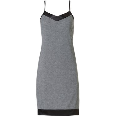 Pastunette Deluxe 'chic elegant luxury' grey & dark grey spaghetti dress with adjustable straps and chic 'soft as satin' trim detailing