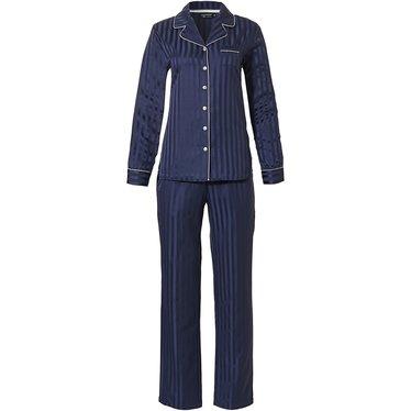 Pastunette Deluxe donkerblauwe doorknoop pyjama 'soft as satin stripes'