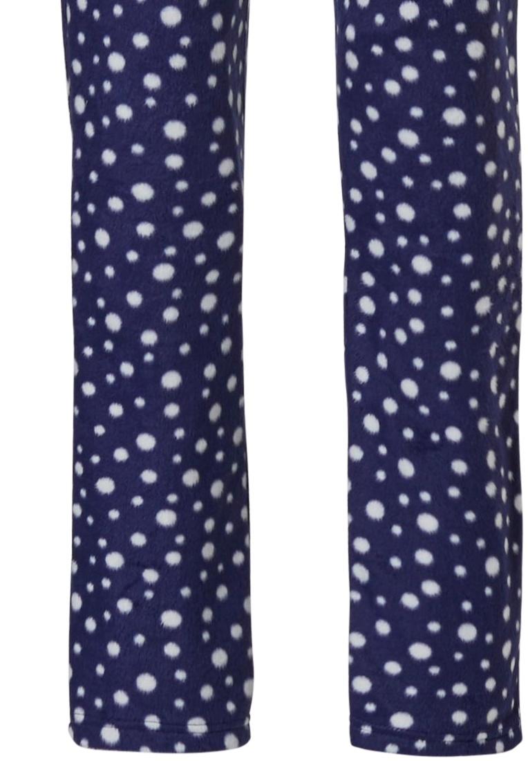 Pastunette 'fashion dashes' donkerblauw en witte, zachte fleece doorknoop pyjama met kraag, zakken en lange bijpassende broek