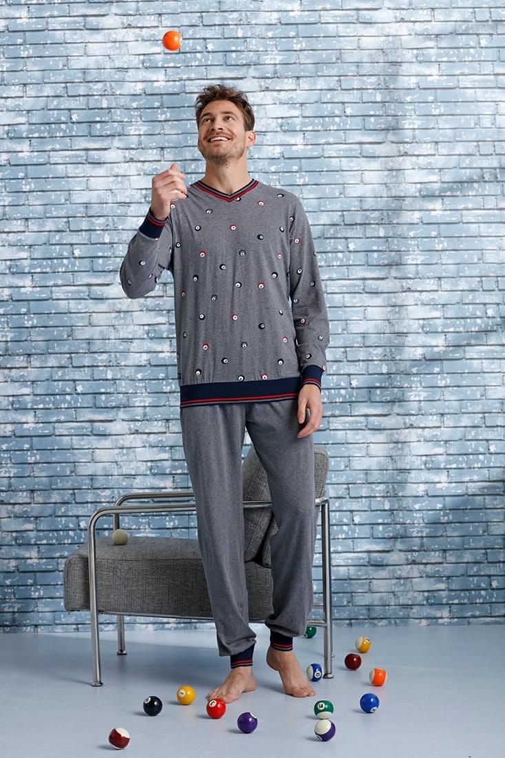 Pastunette for Men '8 ball billiards' grey, red & dark blue mens 'v' neck pyjama set with fun '8 ball billiards' pattern and long grey cuffed pants