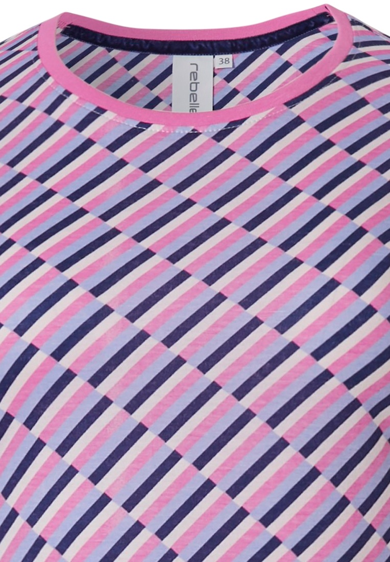 Rebelle 'fashion blocks' vivid pink, white & dark blue long sleeve nightdress with an all over bold fashionable prrint