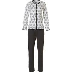 Pastunette off-white doorknoop pyjama voor dames 'circle of leaves'