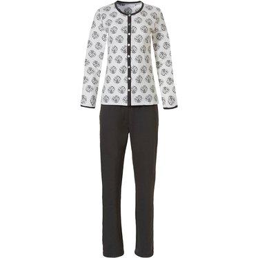 Pastunette 'circle of leaves' off-white & grijze katoenen french terry badstoffen doorknoop dames pyjama met lange mouwen
