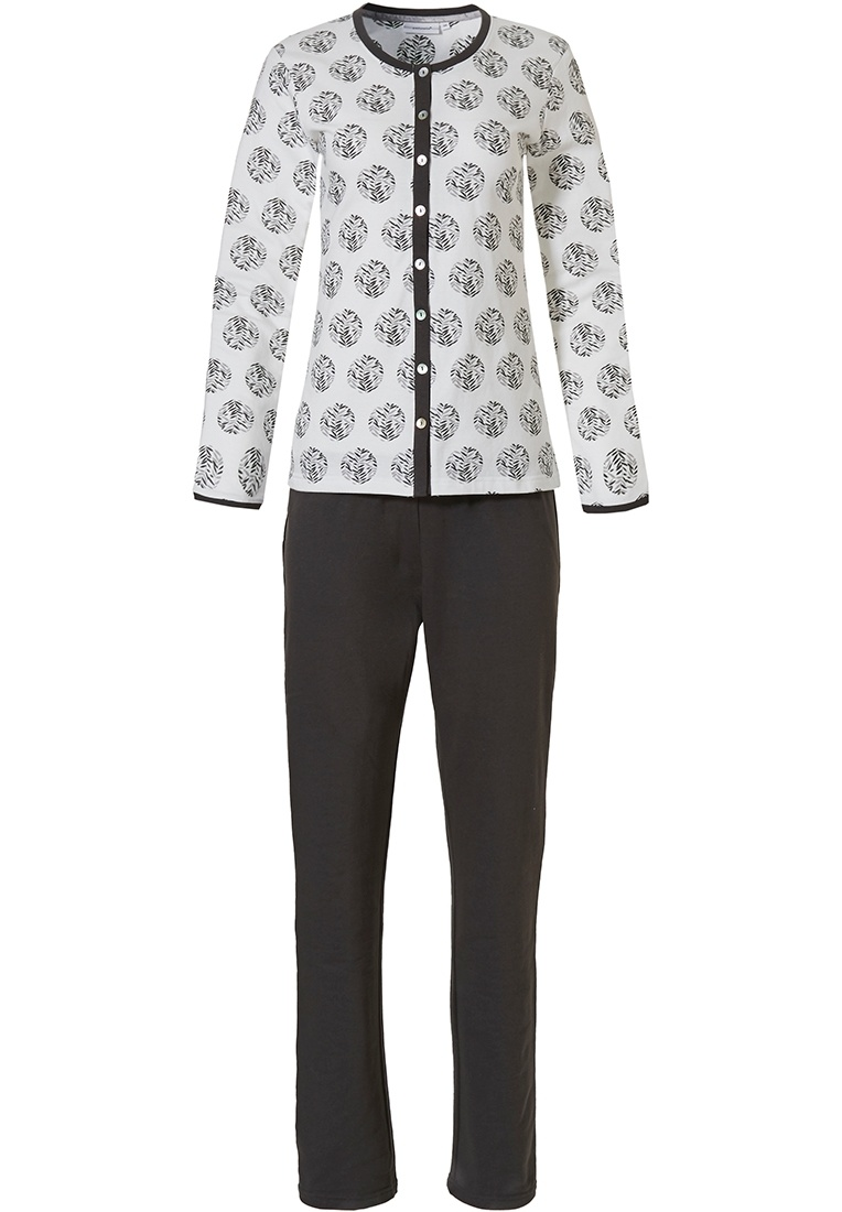 Pastunette 'circle of leaves' ladies full button off-white & grey cotton french terry long sleeve pyjama
