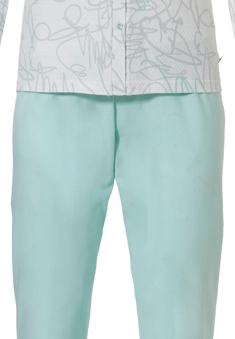 Pastunette Deluxe 'modern abstract line art' off white, grey and light turquoise long sleeve full button cotton pyjama set with an all over 'modern abstract line art' print and long light turquoise blue pants