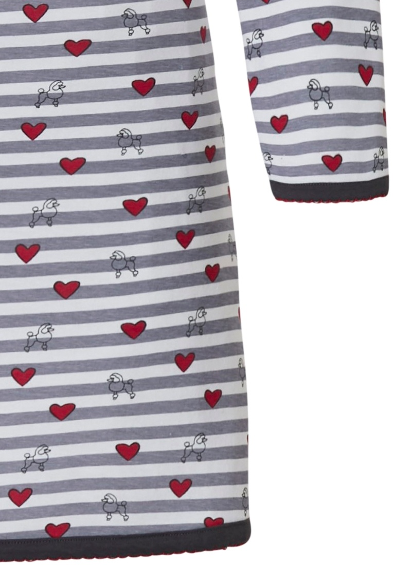 Rebelle katoenen nachthemd met lange mouwen 'stripes & poodles of love ♥'