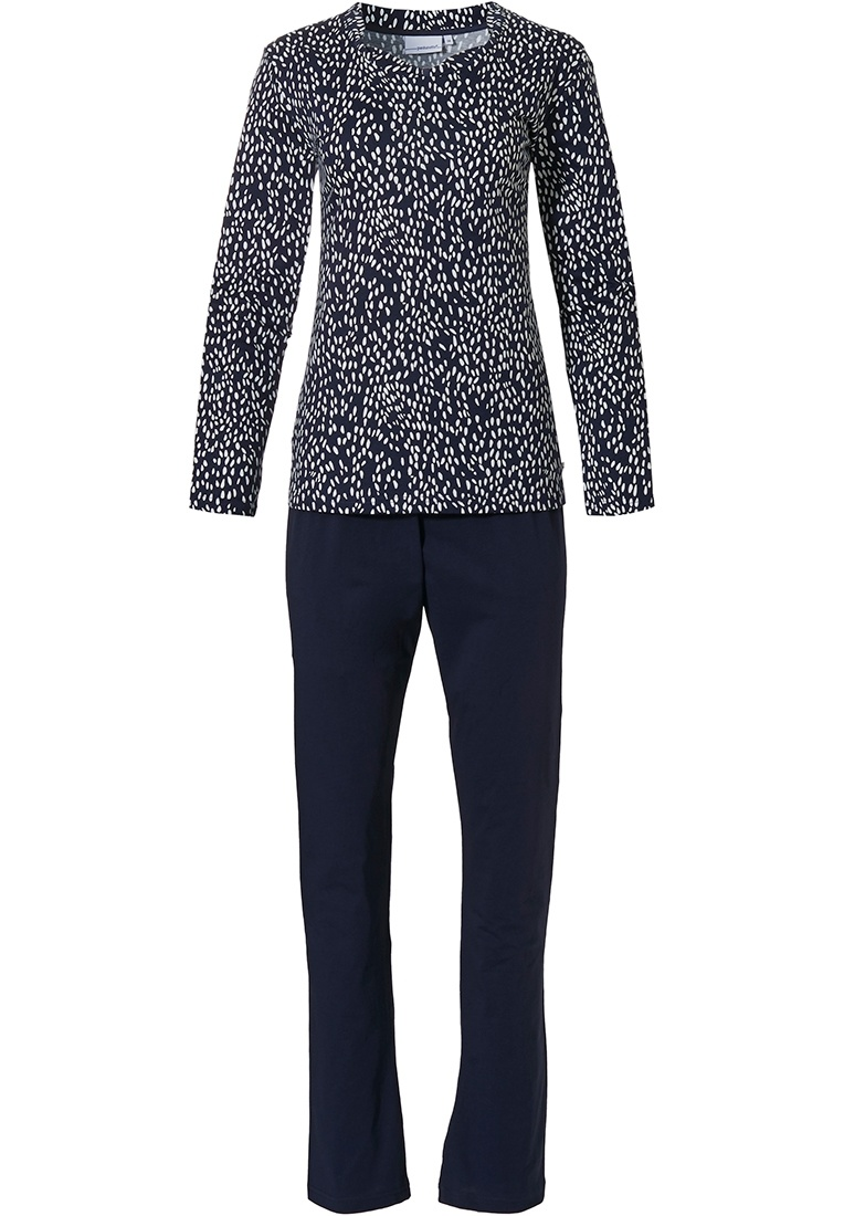 Pastunette 'classy dashes' dark blue & white long sleeve pyjama set with pretty neckline and all over modern 'classy dashes' pattern