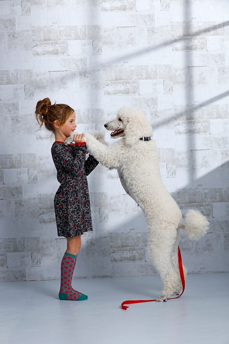 Rebelle Girls 'poodles of love ♥ ' dark grey, red & white long sleeve girls cotton nightdress with cute all over 'poodles of love ♥ ' pictures