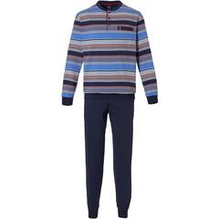 Robson blauwe katoenen herenpyjama met knoopjes 'bold mixed stripes'
