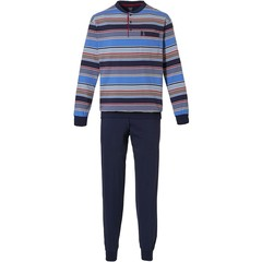 Robson mens blue cotton pyjama with buttons 'bold mixed stripes'