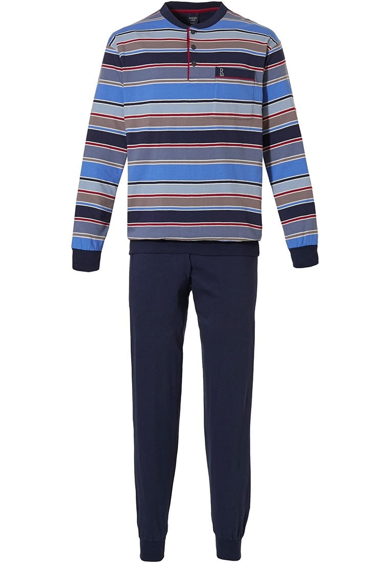Robson 'bold mixed stripes' blue & red mens long sleeve striped cotton pyjama with buttons, chest pocket and long dark blue cuffed pants