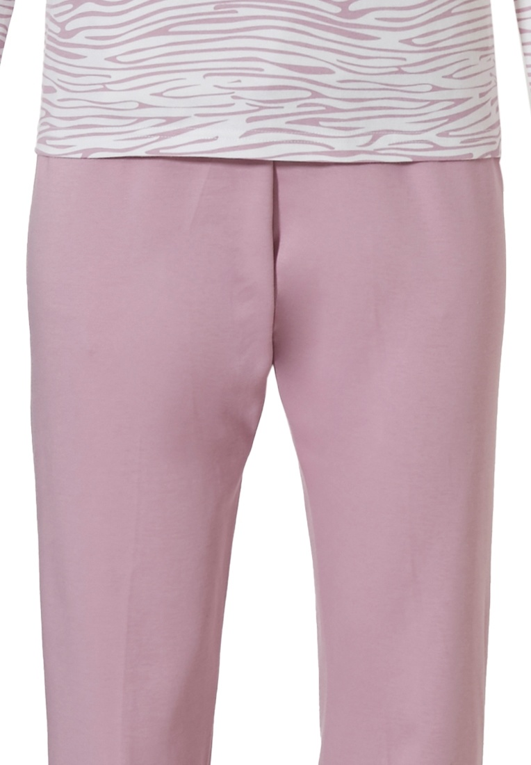 Pastunette 'feminine animal magic' snow-white & soft pink long sleeve cotton interlock ladies pyjama set with buttons and long pink pants