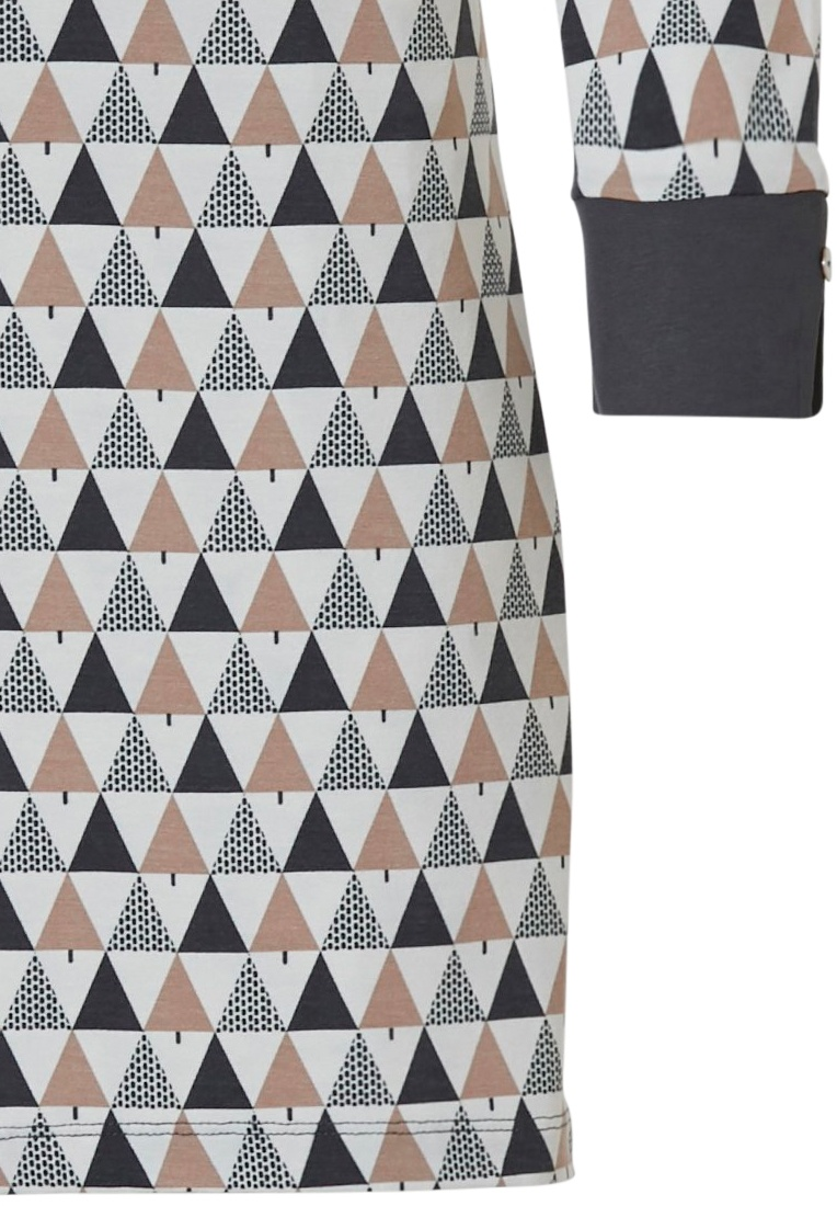 Pastunette Deluxe 'geometric triangles' grey, off-white & sandy brown ladies long sleeve 95% modal nightdress with buttons, cuffs and all over' geometric triangles' pattern