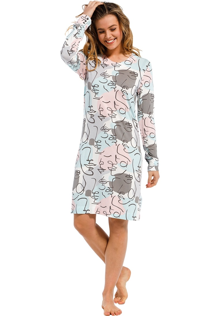 Pastunette Deluxe 'model art colour' pale blue & pastel pink ladies 95% modal long sleeve nightdress with an all over 'model art colour' pattern