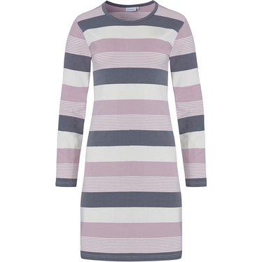 Pastunette 'mixed bold stripes' roze, grijs en gebroken wit 95% katoenen nachthemd met lange mouwen en allover strepen patroon